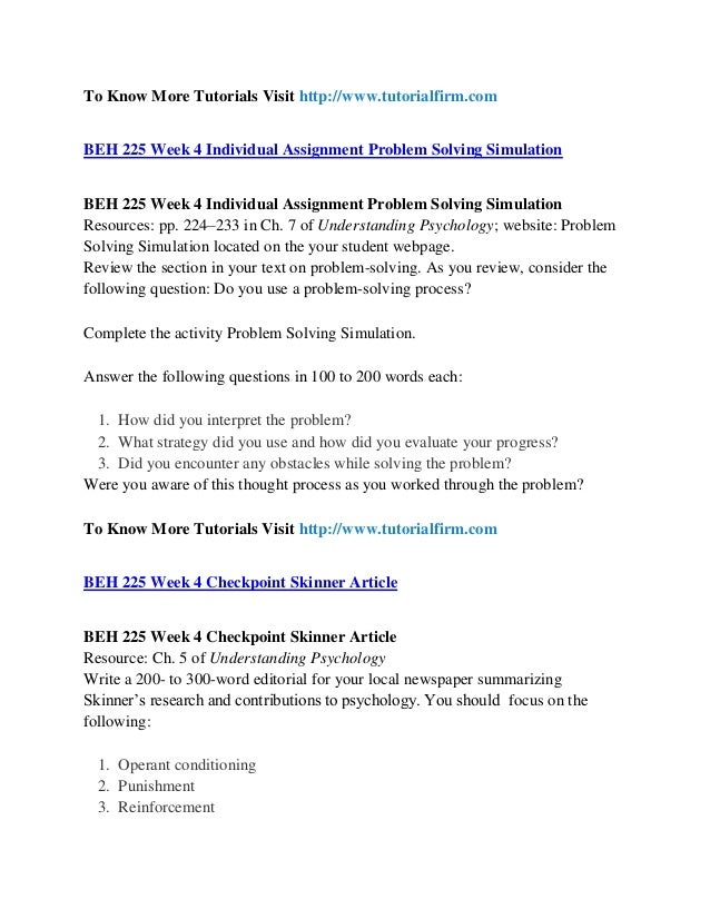beh 225 problem solving simulation assignment