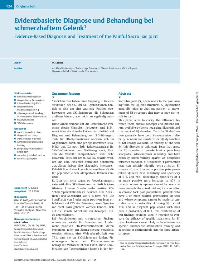 Evidenzbasierte Diagnose und Behandlung bei schmerzhaftem Gelenk1 Evidence-Based Diagnosis and Treatment of the Painful Sa...
