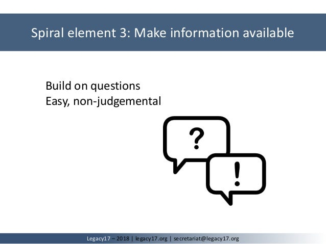 Spiral element 3: Make information available Legacy17 – 2018   legacy17.org   secretariat@legacy17.org Build on questions ...