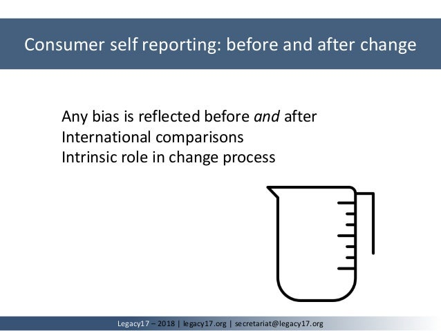 Any bias is reflected before and after International comparisons Intrinsic role in change process Consumer self reporting:...