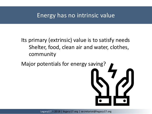 Its primary (extrinsic) value is to satisfy needs Shelter, food, clean air and water, clothes, community Major potentials ...