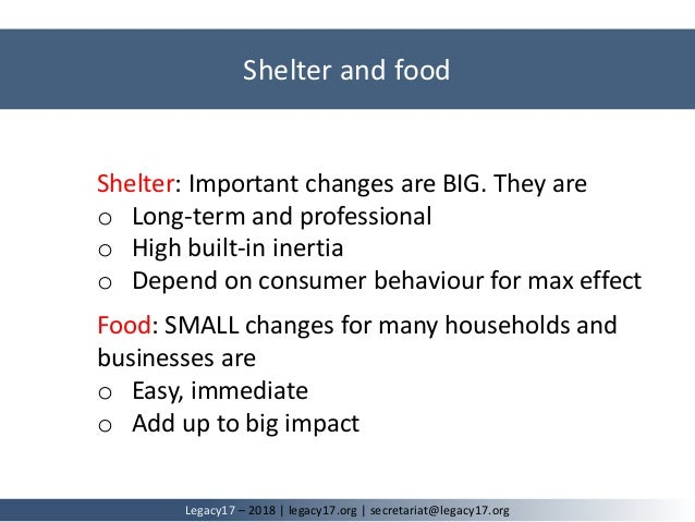 Shelter: Important changes are BIG. They are o Long-term and professional o High built-in inertia o Depend on consumer beh...