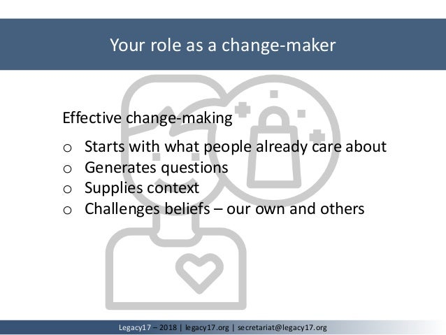 Effective change-making o Starts with what people already care about o Generates questions o Supplies context o Challenges...