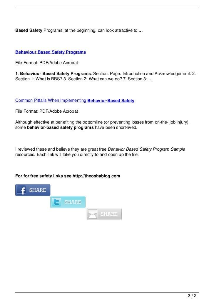 Behavior based safety program sample.