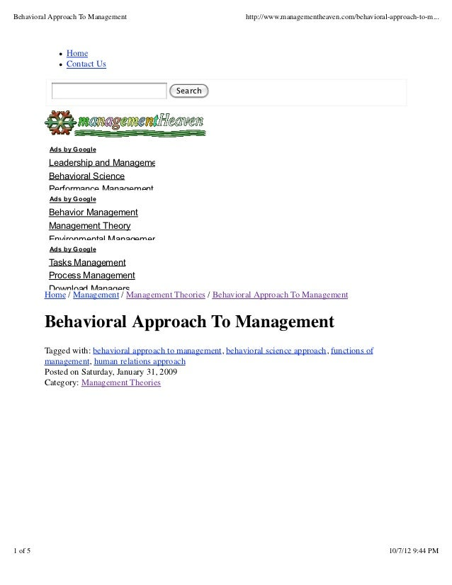 Behavioral Approach To Management                              http://www.managementheaven.com/behavioral-approach-to-m......