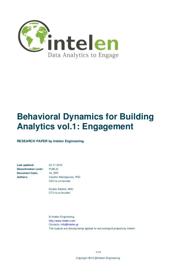 Behavioral Dynamics for BuildingAnalytics vol.1: EngagementRESEARCH PAPER by Intelen EngineeringLast updated:          22-...