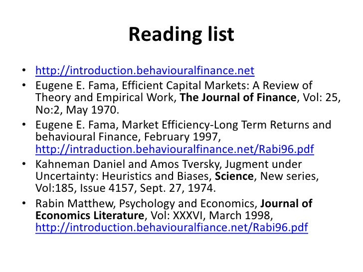 efficient market hypothesis and behavioural finance essay Finance, and the first to use the term 'efficient markets' (fama, 1965b), fama operationalized the emh hypothesis – summarized compactly in the epigram 'prices fully reflect all available information' – by placing structure on various information sets available to market.
