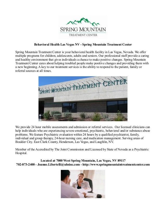 Behavioral Health Las Vegas Nv Spring Mountain Treatment Center