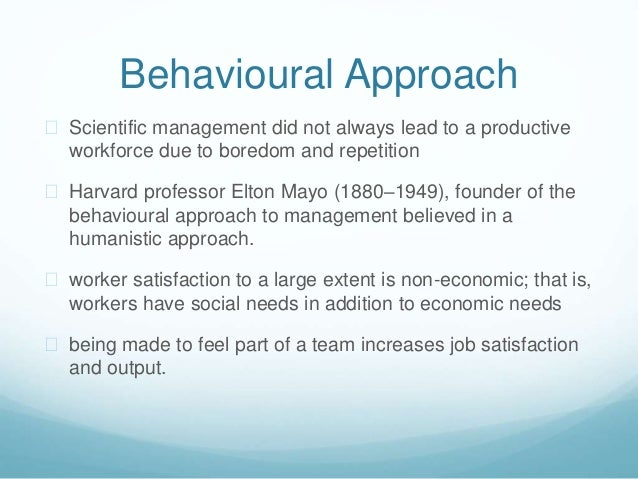 behavioural approach to management Behavioural approach to the management of stress a practical guide to techniques as one of the reading material you can be so relieved to read it because it will.