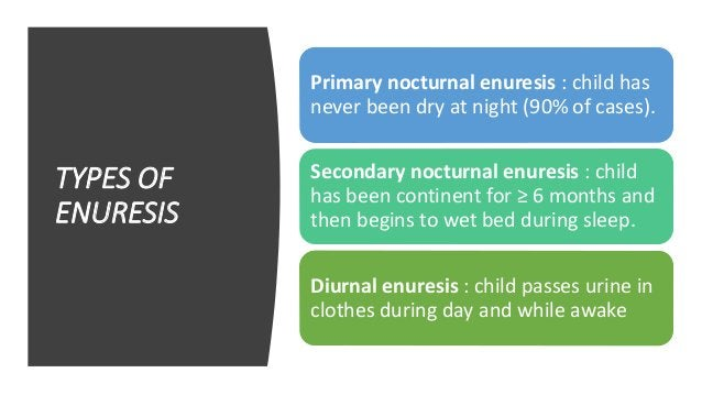 PRIMARY NOCTURNAL ENURESIS‐CAUSES • Marked familial pattern. • 68% concordance rate in monozygotic twins. • 38% concordanc...
