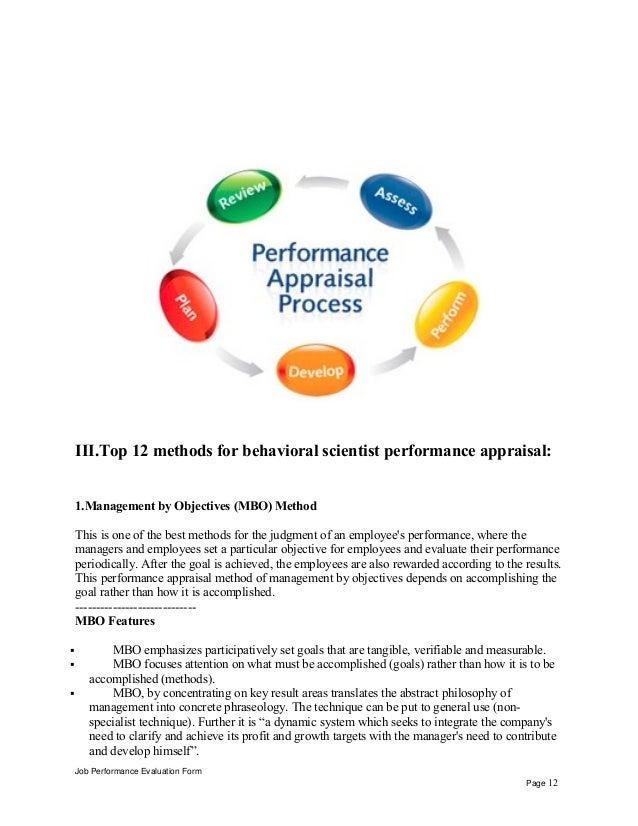 Behavioral Scientist Performance Appraisal