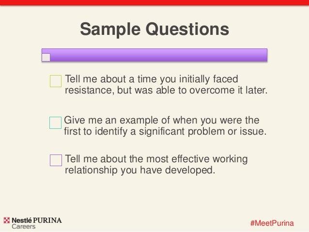 Behavior Based Interviewing at Nestlé Purina