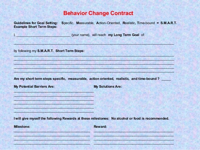 Behavior Change Contract Set Yourself Up For Success