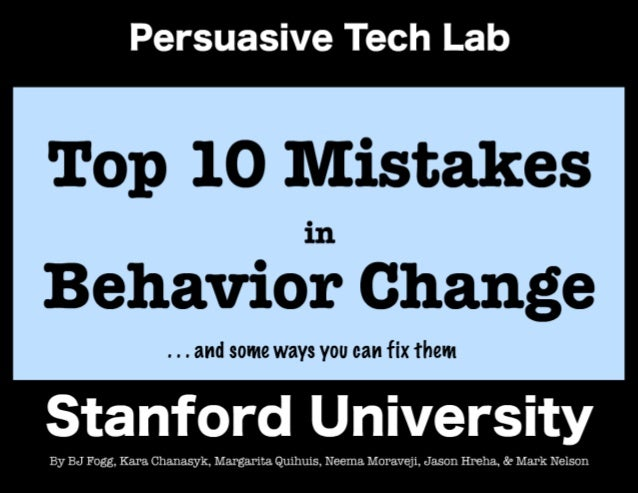 Top 10 Mistakes in Behavior Change