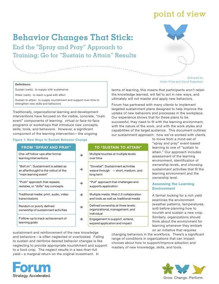 Behavior changes that stick