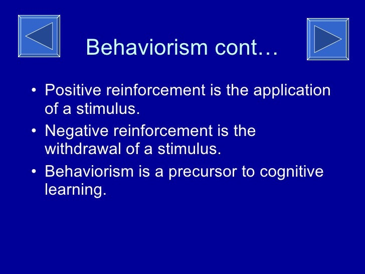 behaviorism theory His connection with american behavioral psychology was initially made by watson behaviorism (john b watson - 1913) his theory of habit formation—is illustrated in the following example generalized from his observations of several children in similar situations.