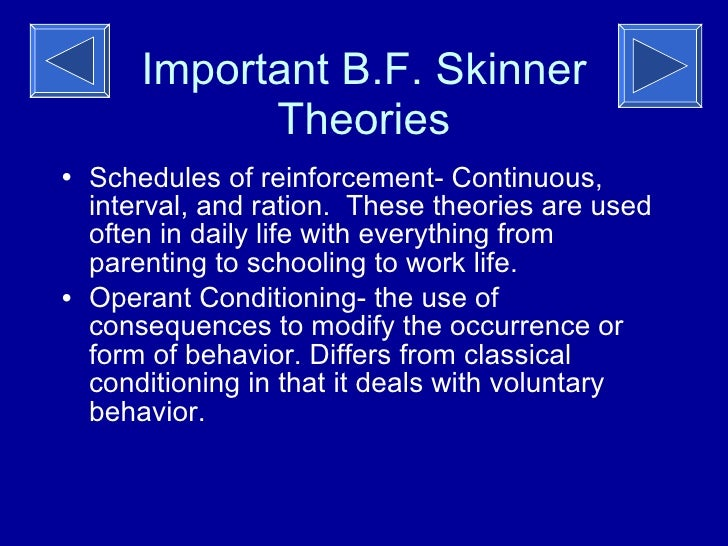 b f skinner and the reinforcement theory Behaviourist and social philosopher b f skinner devised one of the oldest  theories of motivation, the reinforcement theory it explained why.
