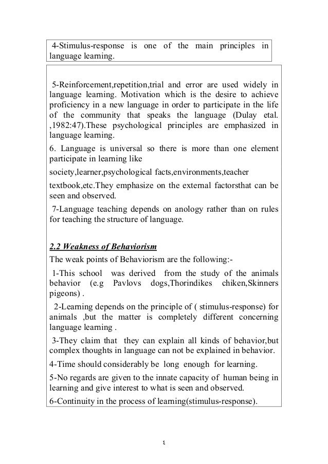 what principles of behaviorism are represented Behaviorism is a psychological theory that, as its name implies, deals with behavior it is based on the premise that animal and human behavior is based on a response to a given stimulus it does .