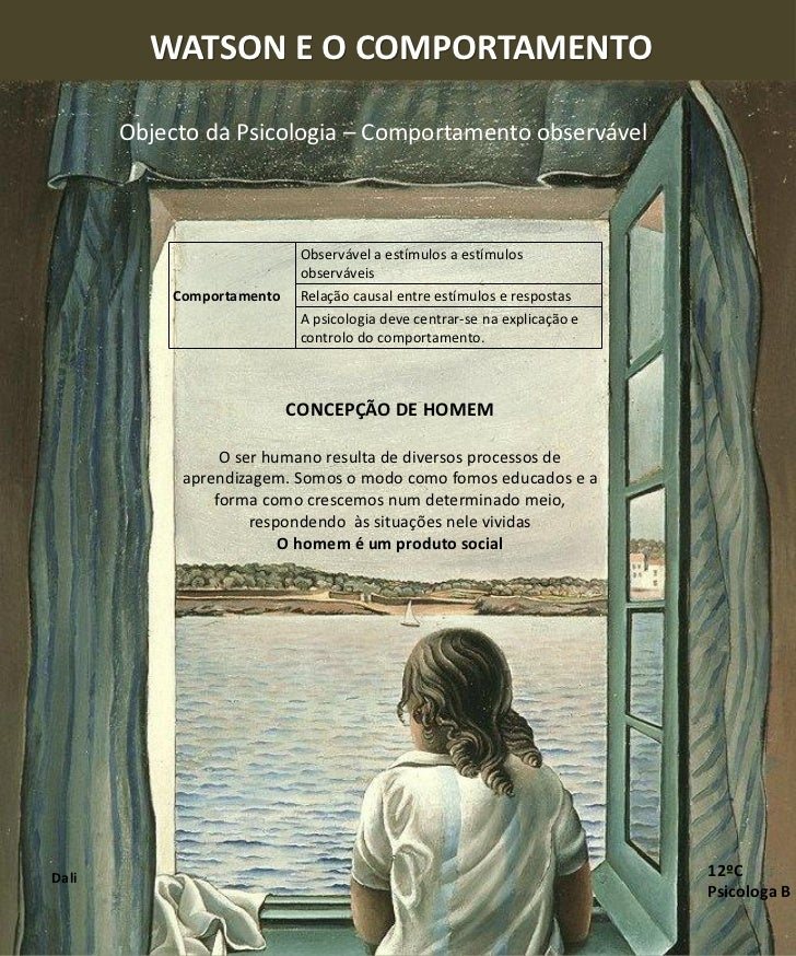 WATSON E O COMPORTAMENTO       Objecto da Psicologia – Comportamento observável                            Observável a es...