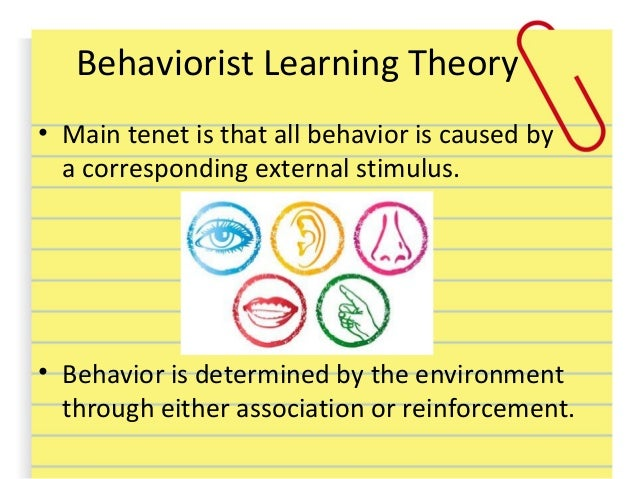behaviourist approach Underlying a behaviourist approach to teaching is the belief that learning is governed by invariant principles, and these principles are independent of conscious control on the part of the learner behaviourists attempt to maintain a high degree of objectivity in the way they view human activity, and they generally reject reference to.