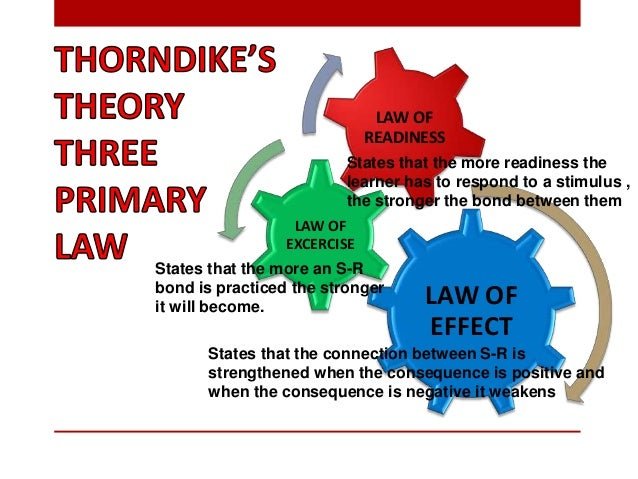 Learning requires bothpractice and rewards (Lawof effect/exerciseA series of S-Rconnections can bechained together if they...