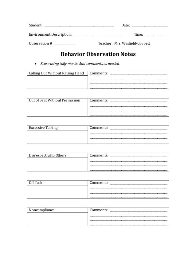 Behavior observation notes template