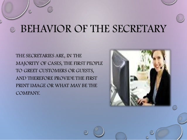 behavior of the secretary and etiquette and protocol