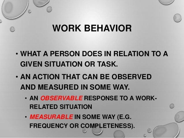 existing traits and work performance of These five job traits are connected to job performance and are predictors of certain outcomes: avoiding counterproductive behavior, reducing turnover and absenteeism, exhibiting more teamwork and leadership, providing more effective customer service.
