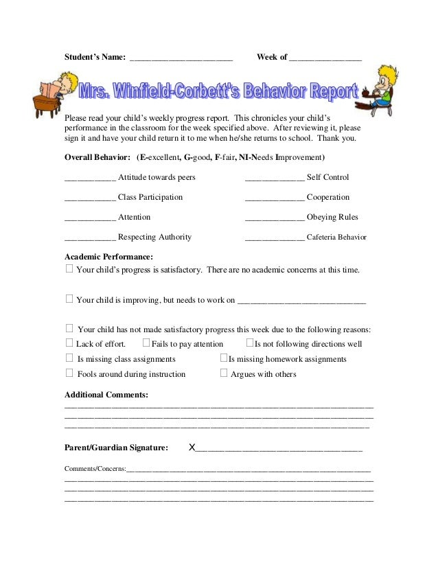 Student's Name: ________________________ Week of _________________ Please read your child's weekly progress report. This c...