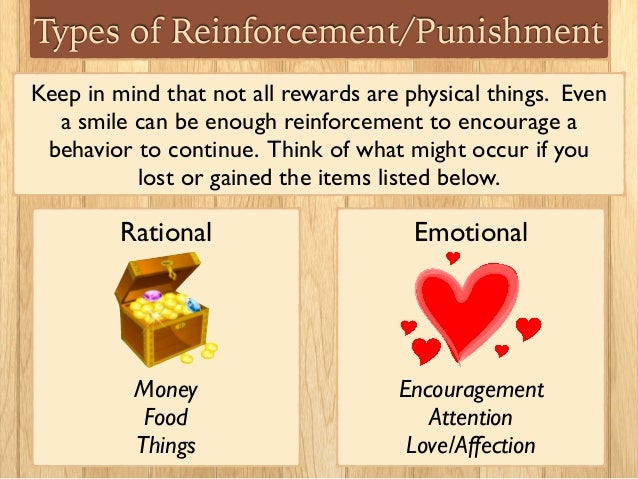 positive reinforcement negative reinforcement punishment extinction and behavior shaping When dealing with self-rewarding or environmentally-rewarded behaviors, a combination of management, positive reinforcement, and negative punishment are an alternative solution comparison of extinction and negative punishment:.