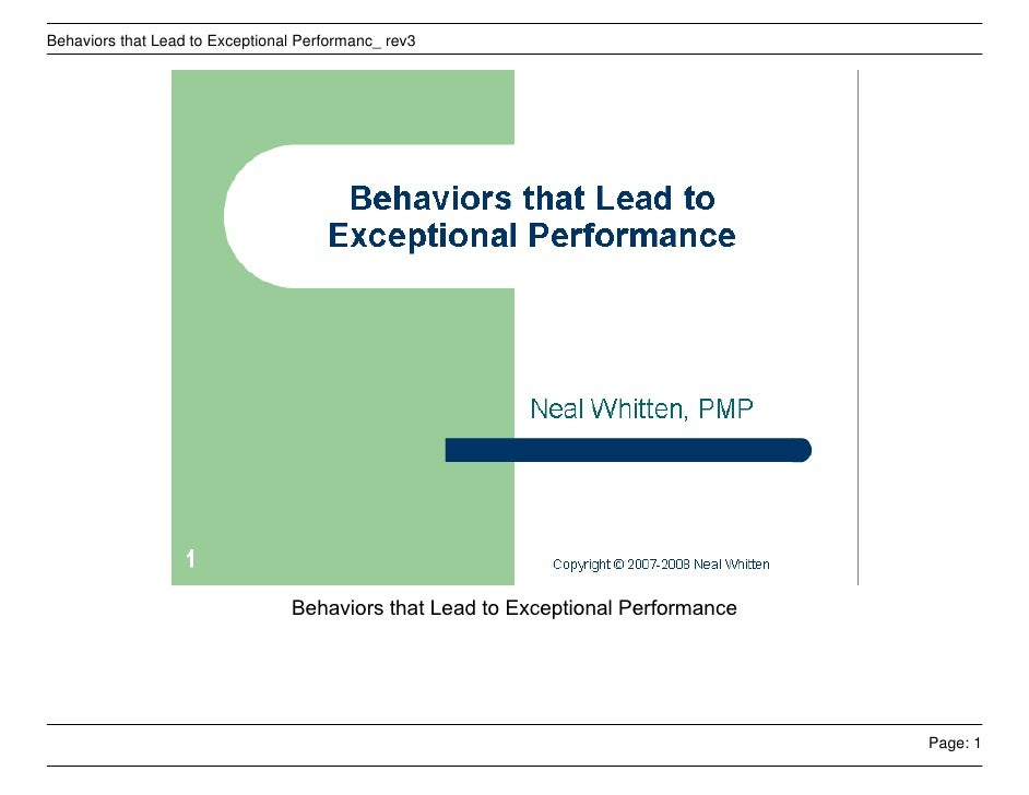 Behaviors that Lead to Exceptional Performanc_ rev3                                      Behaviors that Lead to Exceptiona...