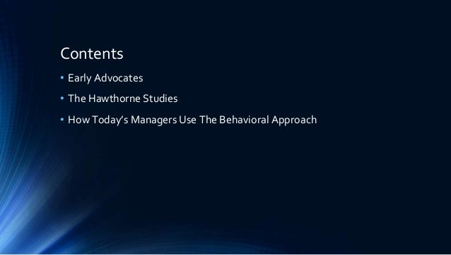 how do managers today use the behaviour approach pdf