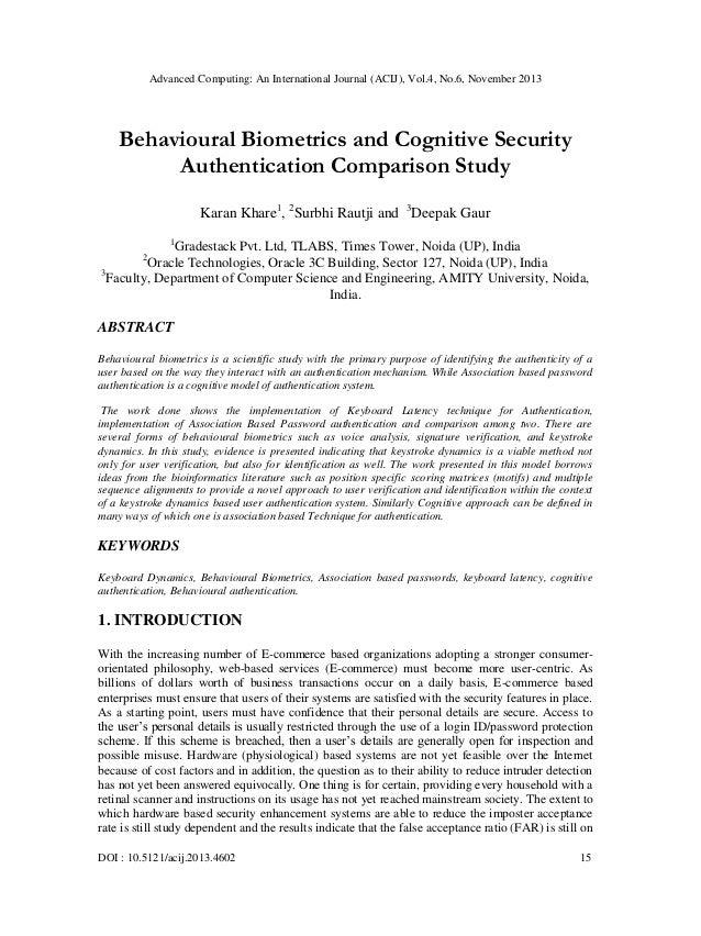 Advanced Computing: An International Journal (ACIJ), Vol.4, No.6, November 2013  Behavioural Biometrics and Cognitive Secu...