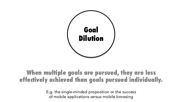 Goal Dilution When multiple goals are pursued, they are less effectively achieved than goals pursued individually. E.g. th...