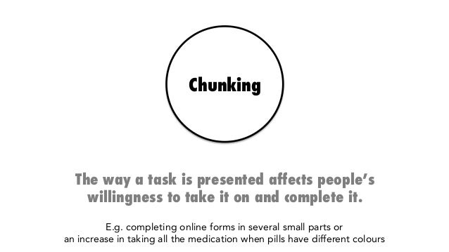 Chunking The way a task is presented affects people's willingness to take it on and complete it. E.g. completing online fo...