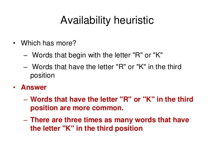 availability heuristic Types of heuristics availability, representativeness & base - duration: 7:09 (availability heuristic) - duration: 2:09 cogsai 93,529 views.