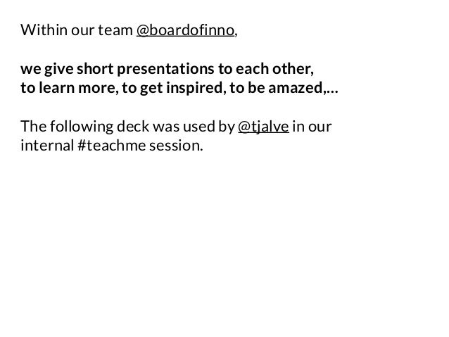 Within our team @boardofinno, we give short presentations to each other, to learn more, to get inspired, to be amazed,… Th...