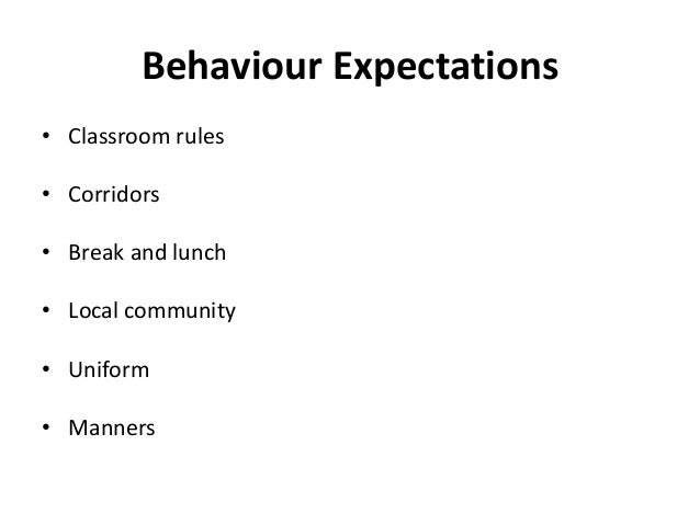 Behaviour Expectations • Classroom rules • Corridors • Break and lunch • Local community • Uniform • Manners