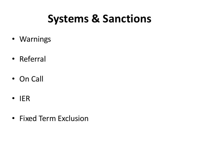 Systems & Sanctions • Warnings • Referral • On Call • IER • Fixed Term Exclusion