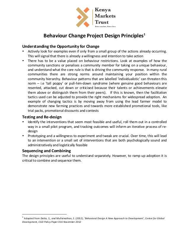 Behaviour  Change  Project  Design  Principles1       Understanding  the  Opportunity  for...