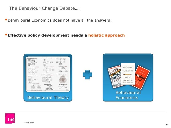 Behavioural Economics does not have all the answers !Effective policy development needs a holistic approach             ...