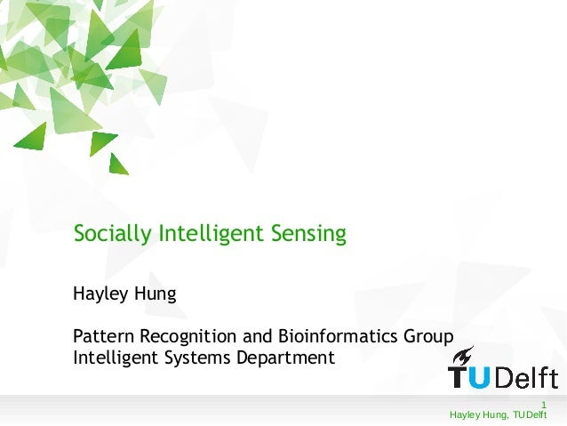 1 Hayley Hung, TUDelft Socially Intelligent Sensing Hayley Hung Pattern Recognition and Bioinformatics Group Intelligent S...