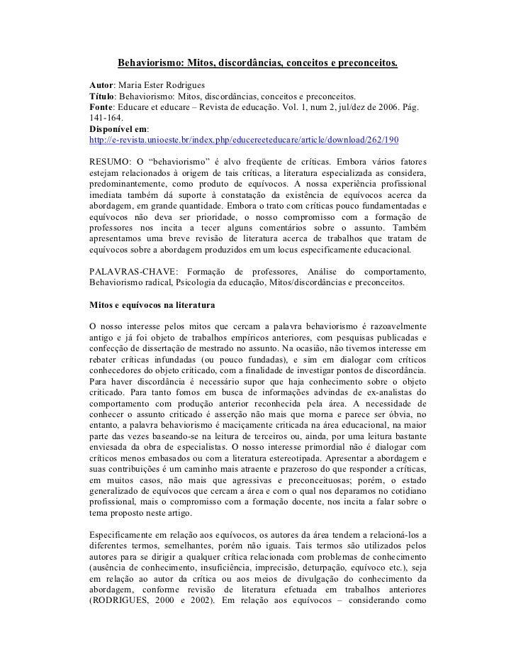 Behaviorismo: Mitos, discordâncias, conceitos e preconceitos.Autor: Maria Ester RodriguesTítulo: Behaviorismo: Mitos, disc...
