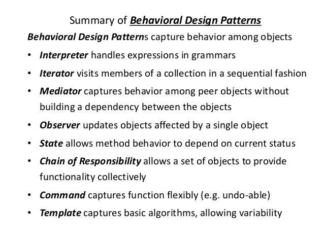 Behavioral Pattern ByPriyanka Pradhan Simple Behavioral Patterns