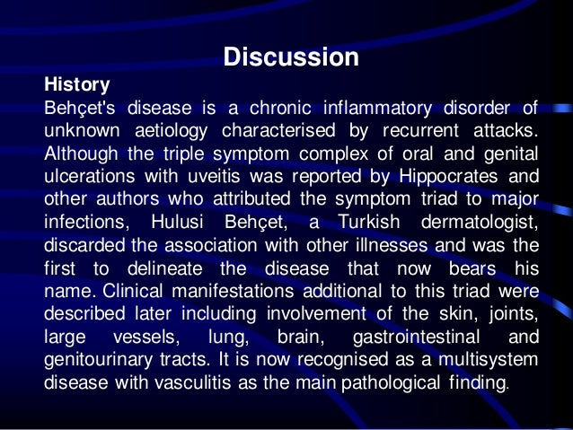 Superficial venous thrombosis in Behçet's disease: a case ...