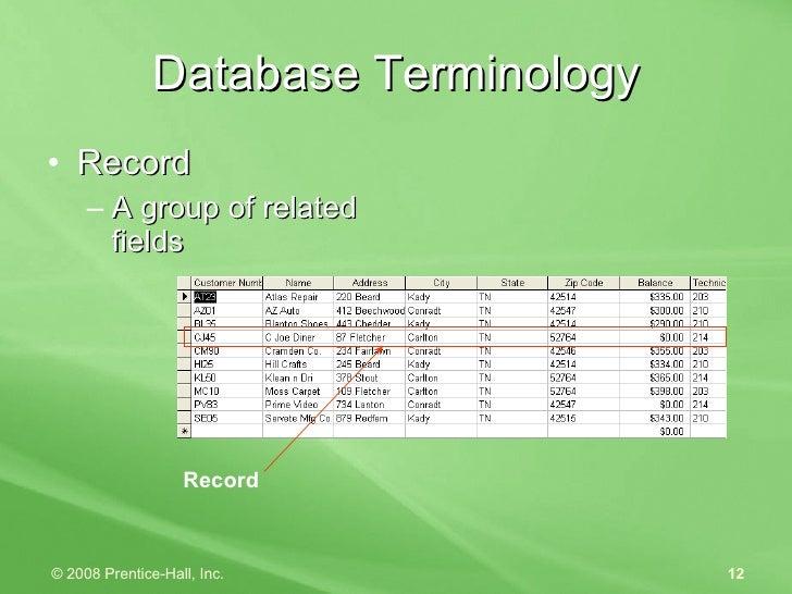 Database Terminology <ul><li>Record </li></ul><ul><ul><li>A group of related fields </li></ul></ul>Record