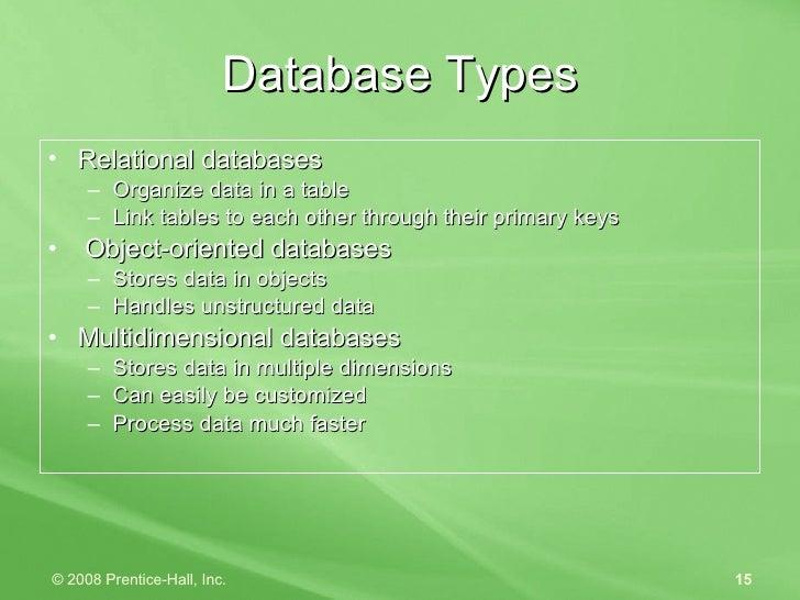 Database Types <ul><li>Relational databases </li></ul><ul><ul><li>Organize data in a table </li></ul></ul><ul><ul><li>Link...