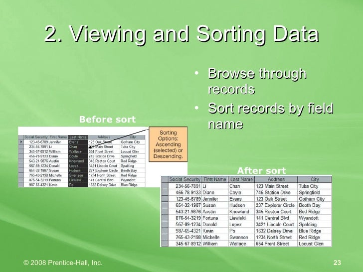 2. Viewing and Sorting Data <ul><li>Browse through records </li></ul><ul><li>Sort records by field name </li></ul>Before s...