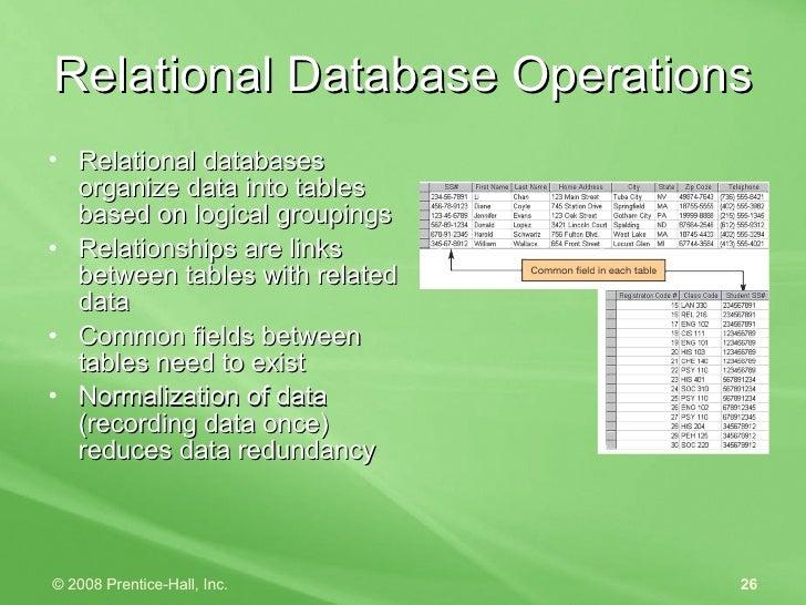 Relational Database Operations <ul><li>Relational databases organize data into tables based on logical groupings </li></ul...