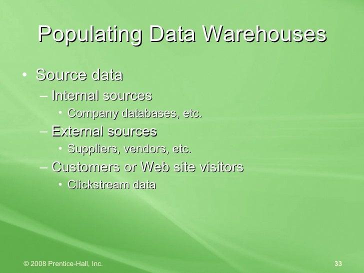 <ul><li>Source data </li></ul><ul><ul><li>Internal  sources </li></ul></ul><ul><ul><ul><li>Company databases, etc. </li></...